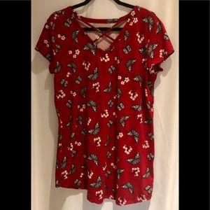 Joe Boxer Cotton Red XL Shirt with Butterflies